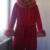 Зимнее пальто с подстёжкой из кролика и мехом песца женский S ~M