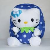 Детский рюкзак с плюшевой игрушкой китти голубой