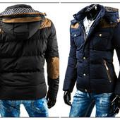 Мужская зимняя стеганная куртка с модными латами