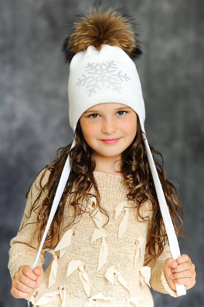 Зимние шапки меринос с натуральными помпонами фото №1