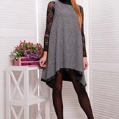 Платье, туника меланж + эко кожа.