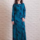 Платье в пол сине-голубое, ткань трикотаж оксфорд, размер 40, большемерит, УП 12 грн