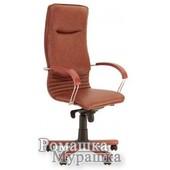 Офисное кресло для руководителя Nova wood chrome Eсо [искусственная кожа Eсо]  Нова