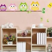 Интерьерные наклейки на стену, виниловые на клейки на стену в детскую комнату, наклейки совы