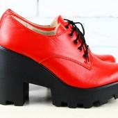 Туфли, ботинки на шнурках, р. 36-40, нат. кожа, код 1927