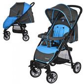 Коляска детская прогулочная M 3409-4, серо-голубая