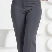 Женские классические брюки со стрелками серого цвета в мелкую полоску размер М (44-46 укр)