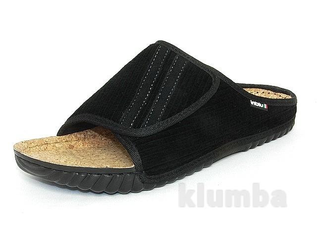100-5l-014   тапочки мужские домашние inblu цвет - черный материал - вельвет фото №1