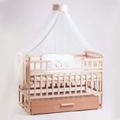 Детская кроватка Детский Сон с маятником и ящиком натуральный