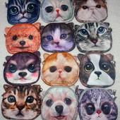 Сумочка - косметичка детская, с 3Д принтами котов и собачек