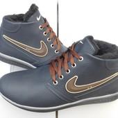 Кроссовки кожаные зимние с логотипами брендов Nike, Hilfiger, Columbia