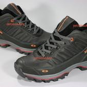 Шикарные мужские кроссовки Salomon. Кожа, высокое качество, теплый мех. Идеально сидят на ноге