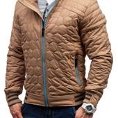 Мужская демисезонная стеганная куртка песочного цвета с контрастным замком,спортивная куртка