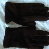 Мужские черные замшевые перчатки на шерстяной подкладке. Б. у.