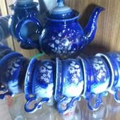 Чайный сервиз на 6 персон.синий.
