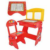 Парта со стульчиком-откидная столешница, 2 шкафчика, красно-желтая