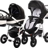 Универсальная коляска Tako Baby Heaven Carbon 1, черный+белый (эко-кожа)