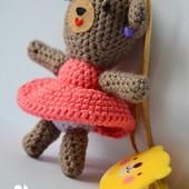 Мишка Бэба(погремушка) - игрушка амигуруми на зажиме тм Nashsling