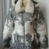 Пуховик женский модный куртка теплая капюшон бренд Desigual р.52  №4588