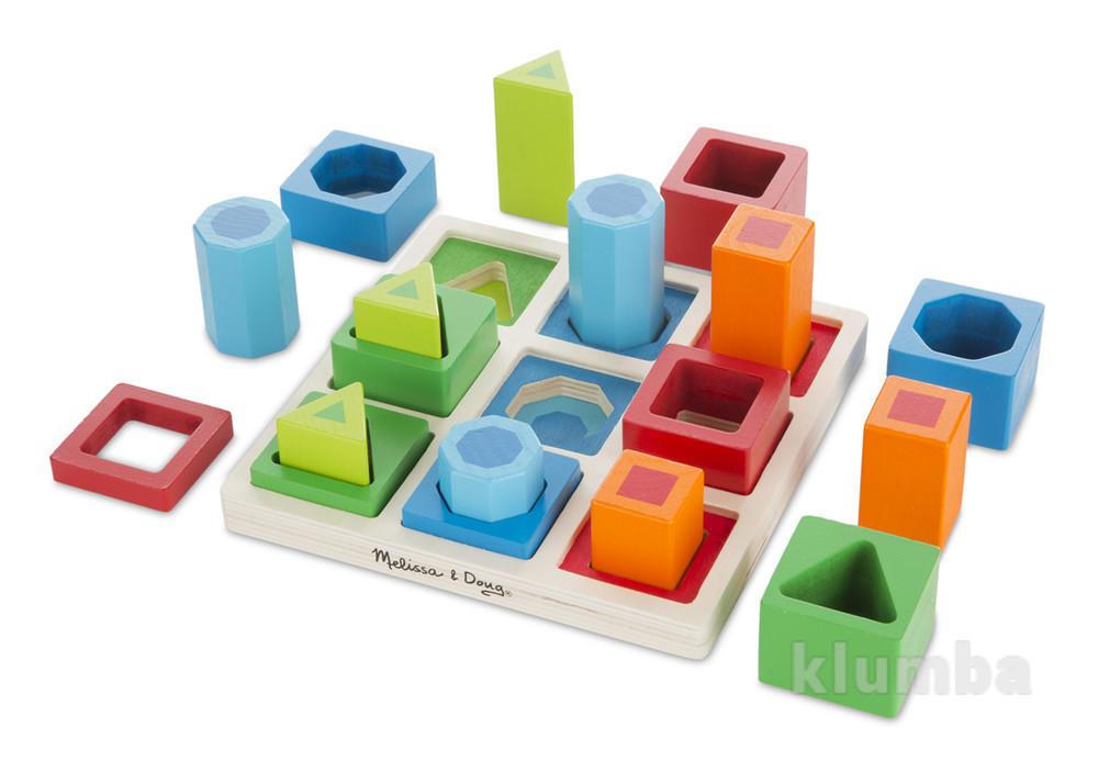 Деревянные игрушки для малышей, сортер из дерева разноцветные фигуры фото №1