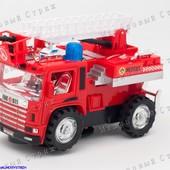 Крутейшая Пожарная машина на батарейках, звуки и свет сирены, авотподъем лестницы, крутится