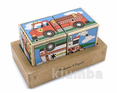 Кубики и пазлы из дерева, деревянные кубики со звуком «машинки» фото №1