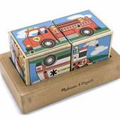Кубики и пазлы из дерева, деревянные кубики со звуком «Машинки»