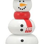 Деревянные игрушки для малышей, деревянная пирамидка «Снеговик»