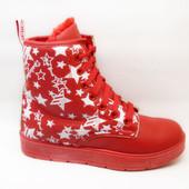 Ботинки зимние красные звезды С518
