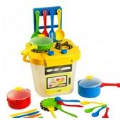 Набор игрушечной посуды столовый Ромашка с плитой