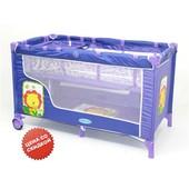 Манеж цвет фиолетовый, двухуровневый, 2 колеса со стопорами, пеленатор, сумка (BT016)