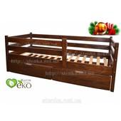 Детская кровать с бортиками и ящиками, тонировка орех