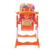 Детский стульчик для кормления - с корзиной и колесами (оранжевый)