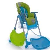Детский стульчик для кормления на колесах - с корзиной (салатово-голубой)