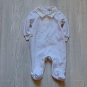 Нарядный велюровый человечек для новорожденного. Please Mum Baby. Размер 0-3 месяца.