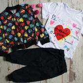 костюмчики для девочек с футболкой 80-116см-цвета разные