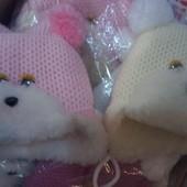 Детские теплые шапочки от рождения до года