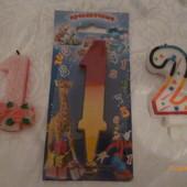 свечи для торта (1, 2 года) лот 3 свечи УП 8 грн.