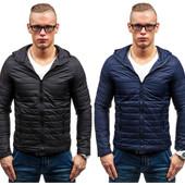весенняя стеганная мужская синяя и черная куртка