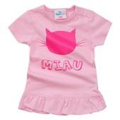 Футболка розовая c кошечкой Miau Topomini (размеры 80, 86, 92)