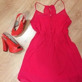 Фирменное шифоновое платье-сарафан М