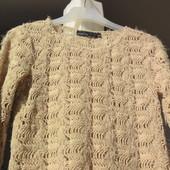 KappAhi. Ажурный свитер травка пудрового цвета. Швеция.