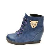Сникерсы-ботинки корона IK-1470 (синий)