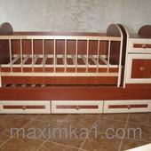 """Детская кроватка """"Трансформер МДФ"""" с маятниковым механизмом"""