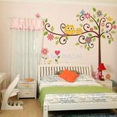 Интерьерная наклейка, наклейки на стену. Совы на дереве. Наклейки в детскую. Декор