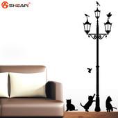 """Интерьерная наклейка """"Котята и фонарь"""". Виниловые наклейки на стену. Декор интерьера"""