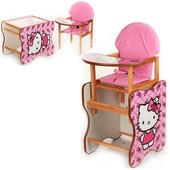 Виваст МК 110 стульчик для кормления деревянный трансформер Vivast с азбукой Мари кошка