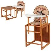 Виваст Найкраща MV 100 стульчик трансформер для кормления Vivast деревяный столик