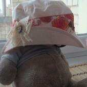 Очень нежная и красивая шляпка/панамочка для малышки, размер 50