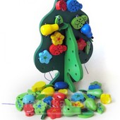 Шнуровка деревянная «Дерево с плодами», мди
